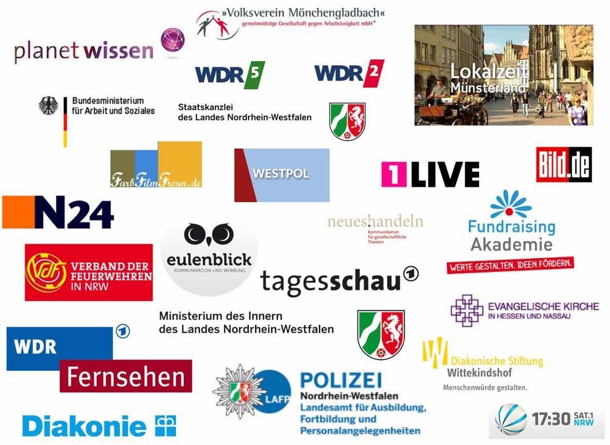 Auswahl von Logos meiner Auftraggeber. Zum Beispiel: WDR, Sat.1, Polizei NRW, Diakonie, Ministerium des Innern